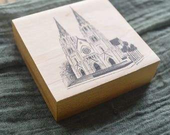 The Savannah Cathedral Pen and Ink Drawing Fine Art Print on Wood Panel with option for ornament