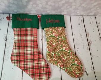 Personalized Christmas stockings with cuffs