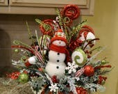 Whimsical Snowman Arrangement in Red Metal Container