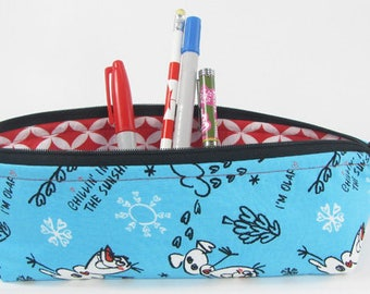 Frozen, pencil case, Back to school supply, zippered pouch, triangle pencil case, pencil case for kids,makeup bag, toiletry bag