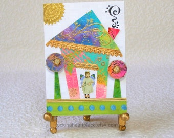 ACEO, original mixed media collage art card, Pixie Digs, wonky house, fairy art