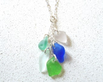 "Multi colored Sea Glass Cascade Necklace on Adjustable Sterling Silver 18"" Chain, cobalt, aqua, seafoam, bright green"