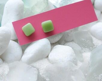 Light Green Glass Post Earrings