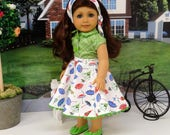 Rain or Shine - circle skirt and blouse ensemble for American Girl doll with sandals