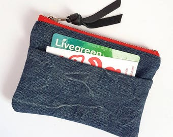 REPURPOSED Denim Coin Purse. Denim Change Purse. Upcycled Denim. Black Leather Pouch. Leather Coin Purse. Ready To Ship.