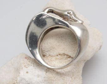 Modernist Sterling Swan Ring Clifton Nicholson Jewelry R8006