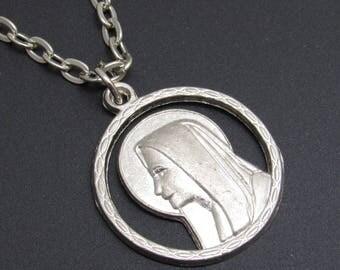 Madonna Pendant Necklace Vintage Religious Medallion