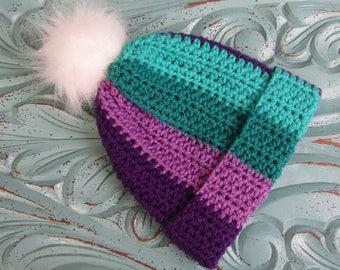 Ready to ship SALE - Girls crochet hat - beanie hat - Toddler hat - Infant hat - Winter hat - purple hat - pompom hat - baby hat