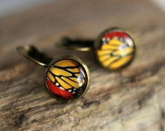 50%OFF Butterfly Wing Earrings, Colorful Wing Segment,  Glass Dome, Gold Yellow, Red, Monarch, Antiqued Brass, Under 10, Stocking Stuffer