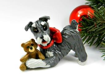 Schnauzer Christmas Ornament Figurine Salt Pepper with Teddy Bear Porcelain