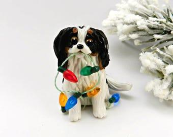 TriColor Cavalier King Charles Spaniel  Christmas Ornament Figurine Porcelain
