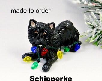 Schipperke Porcelain Christmas Ornament Figurine Made to Order