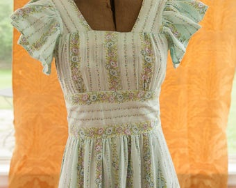 Vintage Gown - Bridesmaid Prom 60s Mod Light Blue Floral BOHO