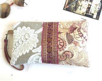 Wristlet wallet clutch purse made with antique French art nouveau fabric