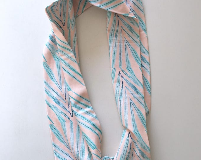 Organic Cotton Infinity Scarf Tropical Leaves