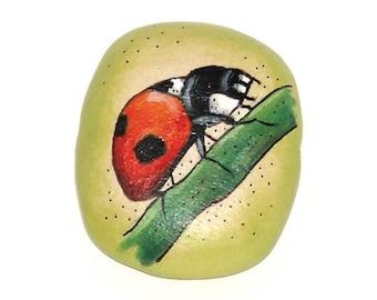 Wooden rectangular bead - Ladybird, hand painted, 35x25mm