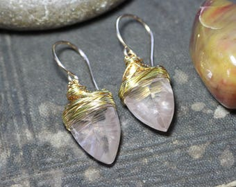 Rose Quartz Earrings Pink Gemstone Gold Silver Wire Wrapped Pink Quartz Earrings Luxe Rustic Jewelry