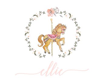 Little Girl Carousel Horse Birthday Party invitation, custom designed watercolor custom horse party birthday celebration carousel