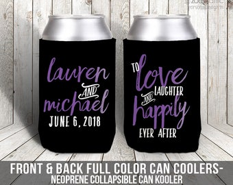 love laughter and happily ever after can coolies reception wedding favors personalized wedding can coolers  MCC-016