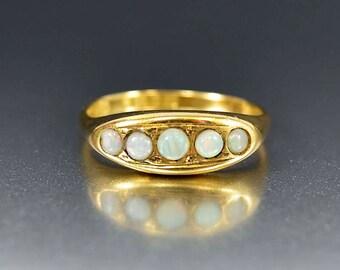 Antique 18K Gold Opal Ring | Edwardian Ring | Five Stone Ring | 18K Gold Wedding Band Ring | October Birthstone Ring | Antique Stacking Ring