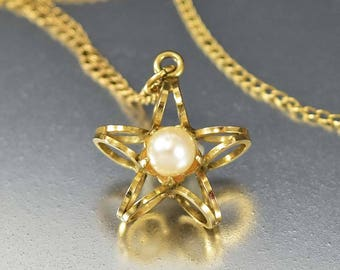 Vintage Pearl Star Necklace | Pearl Choker Pendant 12K Gold Fill Dainty Necklace | Mid Century Celestial Jewelry Cultured Pearl Star Pendant