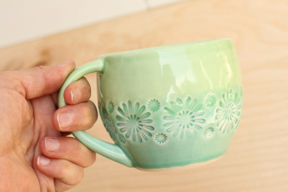 green and aqua mug, porcelain