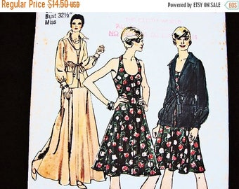 on SALE 25% Off 1970s Halter Dress Pattern UNCUT Misses size 8 Womens Maxi Halter Dress with Jacket Vintage Sewing Pattern 70