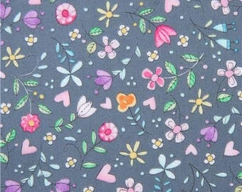 213640 grey Michael Miller fabric cute colorful flower Bitty Bloom