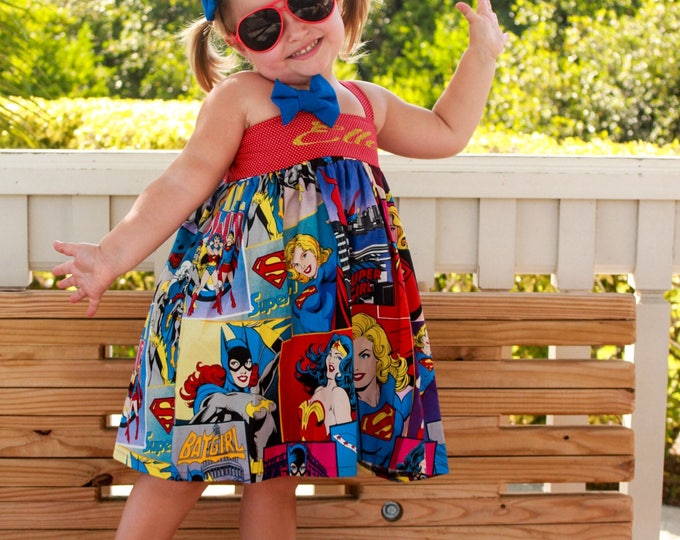 Girls Superhero Party - Wonder Woman - SuperGirl  - BatGirl - Personalized Dress - Glitter Top - Sparkle - Toddler Clothes -  6 mo to 8 yrs