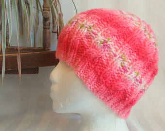 Cable Beanie. Ready to Ship. Knit Hat. Light and Dark Coral Stripes. Beanies for Women. Womens Hats. Gifts for Women. Acrylic Nylon Hat.