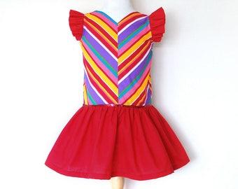 CIRCUS toddler girls dress size 5, birthday party dress, stripes dress, baby girl dress, rainbow dress, girl gift, little girl dress
