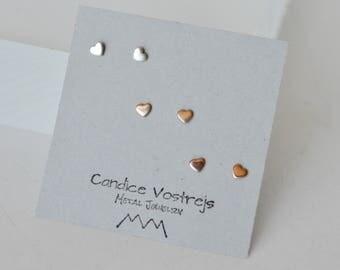 Tiny Stud Earrings, Tiny Heart Earrings, Gold Filled Heart Earrings, 3mm Heart Earrings, Heart Stud Earrings, Rose Gold Heart Earrings, Stud