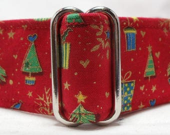 Christmas Trees and Presents on Red  Metallic Cotton Greyhound, Whippet, Galgo, Pit Bull, Dog, Sighthound Martingale Collar