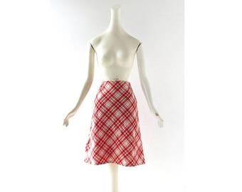 20% off sale Red Plaid Skirt | Vintage 60s Skirt | A Line Skirt | 25W XS