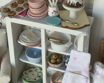 Rustic Prairie MiMiniature Dollhouse Kitchen Cupboard and Accessories -1:12 scale