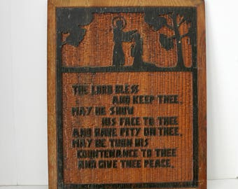 Bible Verse Blessing, Wood Carved Wall Hanging, Folk Art Wooden Carving, Numbers 6:24-26 KJV