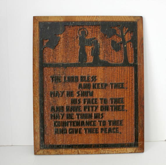 Bible Verse Blessing, Vintage Wood Carved Wall Hanging, Folk Art Wooden Carving, Numbers 6:24-26 KJV