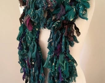recycled silk chiffon  tattered scarf multicolor purple blue