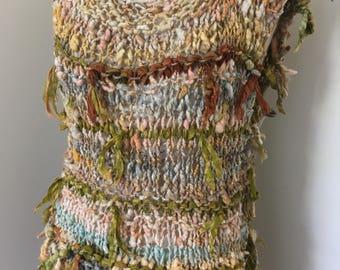 tabard, tunic , sleeveless knitted dress, small 10 - 12 , handspun handknitted, ultrafine merino and eri silk