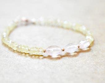 rose quartz and smokey lemon quartz bracelet. sparkly rose and lemon quartz with rose gold filled detail. pale pink and yellow gem bracelet