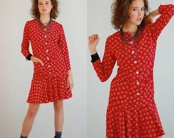 SALE 25% off sundays Drop Waist Dress Vintage 80s Red Geo LIZ CLAIBORNE Draped Drop Waist Dress (s m)