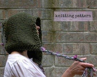 pixie hood knitting pattern instant download . faery watcher's hood . hooded hat fairy elven hood knit pattern . pdf women's hobbit hood