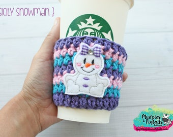 Winter Crochet Coffee Cozy { Purple Snowman } turquoise, pink glitter stripe cup holder, coffee sleeve, mug sweater, tea cup, planner mug