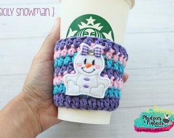 Winter Crochet Coffee Cozy { Purple Snowman } turquoise, pink glitter stripe cup holder, coffee sleeve, mug sweater, tea cup, planner mug