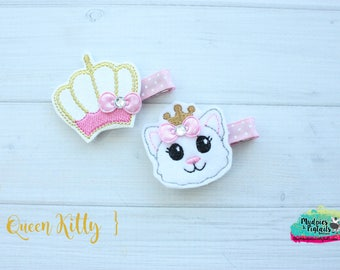 Girly Diva Hair Clippies  { Queen Kitty }  cat, crown, glitter mommy daughter Hair Clip, Barette, Holiday Hair Bow No Slip