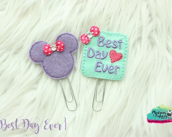 Planner Clip Set { Mouse Love } best day ever, pink purple love heart Paper Clips, Birthday party favors, kikkik, happy planner
