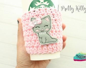 Crochet cup cozy { Pretty Kitty } cat, gray kitten pink aqua, zoo gift, teacher gift, knit mug sweater, animal lover, coffee cup sleeve