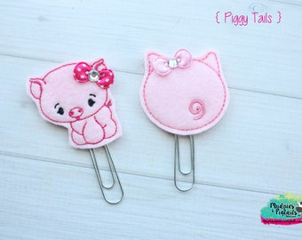 Planner Clip { Piggy Tails } pig butt, curly q, piglet, pig gold Paper Clips, Stationary, Planner Supplies, gift, parade, party
