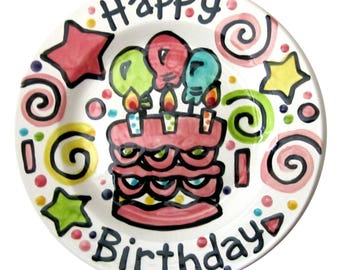 "10"" or 7"" CUSTOM ceramic Birthday Cake Plate Personalized Celebration Time"