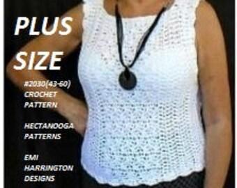 Women's Crochet Pattern - Pullover Sleeveless Sweater - Shell Top, PDF download, #2030(43-60) PLUS SIZE, xl, 2xl, 3xl, 4xl